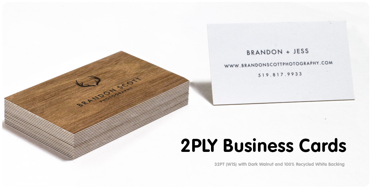 What are the paper options for 2 ply Business Cards
