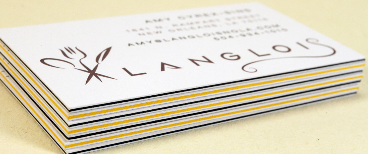 Layered business cards use a similar process as our 2 ply cards where two stocks are pressed together to create a double thick card or even combine two